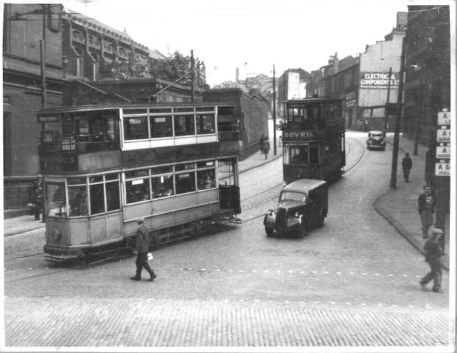 Last day of trams on Church Bank July 23 1949
