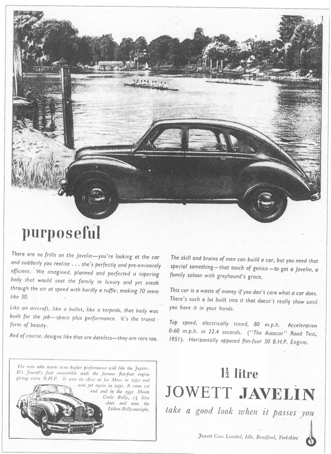 Jowett Javelin advertisement c1950