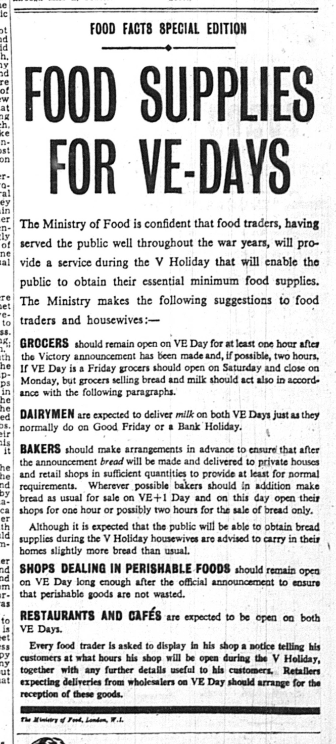 Kly News 05 May 1945 VE Day food 1